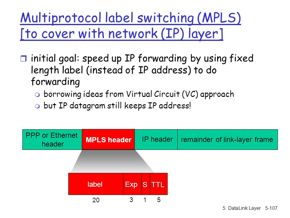 Multiprotocol label switching (MPLS) [to cover with network (IP) layer]